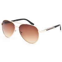 Full Tilt Chain Aviator Sunglasses Gold One Size For Women 25748062101