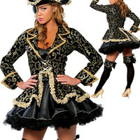 Hot Sale High Quality Women Sexy Pirate Costume Halloween Carnival Party Role Play Uniform Bar Costume and Hat Plus Size M-XL