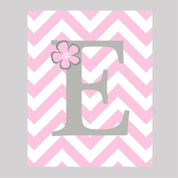 Instant Download Gray Monogram Letter  with Pink Flower Print CUSTOM COLORS digital nursery decor art baby room print digital download 8x10