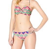 Neon Diamond Twist Front Bandeau Top