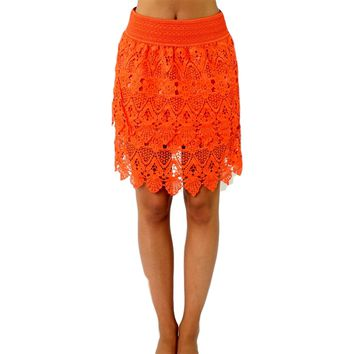 Lace Skirt, Coral