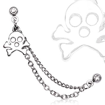 316L Surgical Steel Chained Cartilage Earring with a Skull