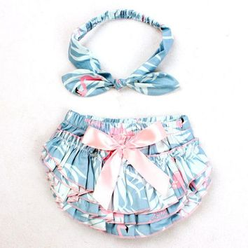 Hot Shorts Baby Girl Ruffle Bloomers Diaper Cover And Headband Set Toddler Cotton Flame Bird Pattern Bowknot Tutu  3 Colors YC031AT_43_3