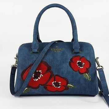 Hot Sale Kate Spade Women Flower Blue Handbag