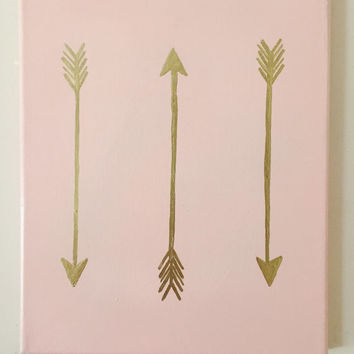 HAND PAINTED Bohemian Gold Accent 8x10 Canvas decor Arrows Hipster Pink Gold Leaf Dorm Room Decor Simple Minimalist Boho Chic College