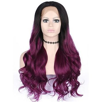 Long Black To Burgundy Purple Ombre Wave Synthetic Lace Front Wig