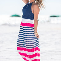 Stripe On Maxi Dress, Navy