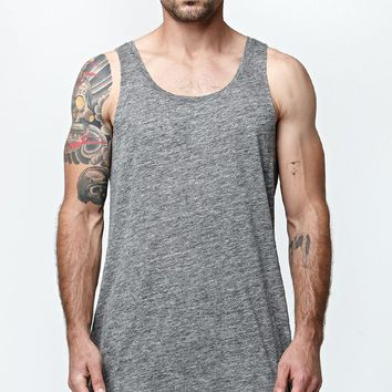 Reign+Storm Split Longline Tank Top - Mens Tee - E. Heather Grey