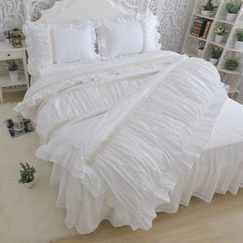 Romantic ruffle bedding sets,twin full queen king princess cotton single double home textile bed dress pillow cases quilt cover