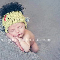 Crochet Pattern for Frankenstein Monster Hat - 6 sizes, baby to large adult - Welcome to sell finished items