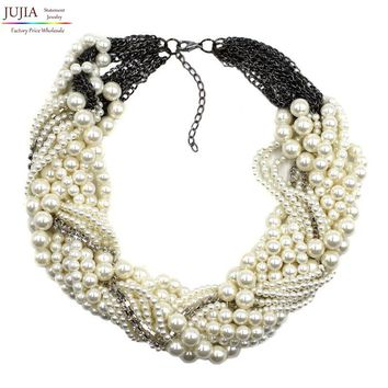 New fashion Z bib collar necklace & pendant chunky luxury choker simulated pearl Necklace statement necklace