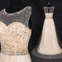 2016 New Design Champagne Beading Bridal Dress/Custom Lace Beach Wedding Dress/Gorgeous Wedding Gowns/Chapel Bridal Dress/Pageant Dress WD47