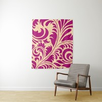 Dark Pink Purple Flourish FiligreeTapestry Tapestry