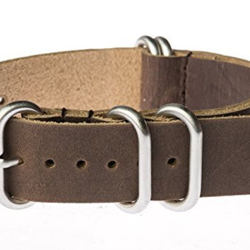 OhFlash 22mm [Brown Leather] Zulu G10 Nylon Nato Militaty Watch Strap with Polished Stainless Steel Rings