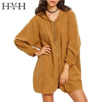 HYH HAOYIHUI Brown Zipper Pocket Front Hooded Batwing Long Sleeve Outerwear Elegant Streetwear Jacket Casual Basic Loose Coat