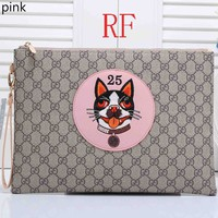 GUCCI female cute cartoon print fashionable leather clutch bag F-RF-PJ pink