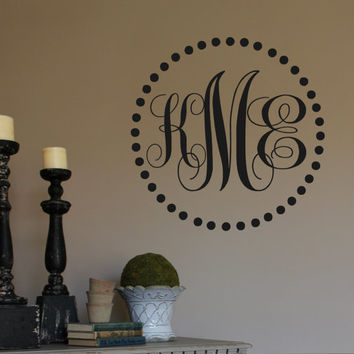Vinyl Wall Decal- Monogram Initials in Polka Dot Frame- Lettering Decor- Personalized Monogram- Initials-