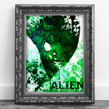 Alien Water Color Sci-fi Horror Movie Wall Art