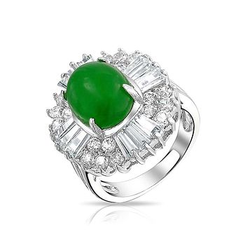 Oval Green Dyed Jade Baguette Crown CZ Ring Silver Plated Brass
