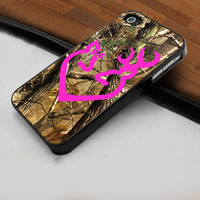 Pink Browning Deer Camo - Hard Case Print for iPhone 4 / 4s case - iPhone 5 case - Black or White (Option Please)