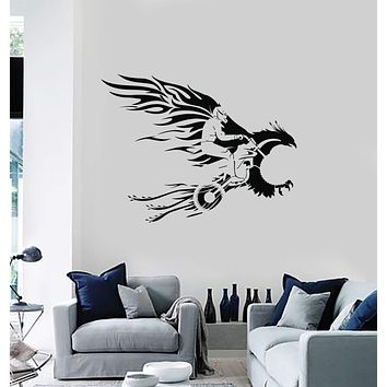 Vinyl Wall Decal Freestyle Motocross Bird Fire Jump Motorcycle Motorcyclist Interior Stickers Mural (ig5827)