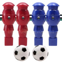4 Red and Blue Robotic Foosball Men and 2 Soccer Balls