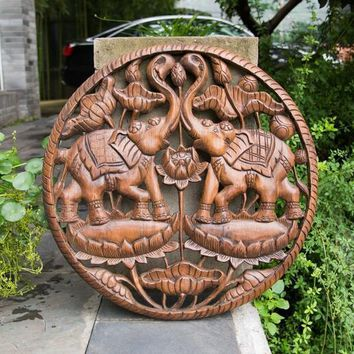 Thailand arts and crafts import 60cm solid wood hollow carved in Southeast Asian style wood carving elephant round ornaments