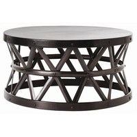 Hammered Drum Cross Coffee Table Dark Bronze