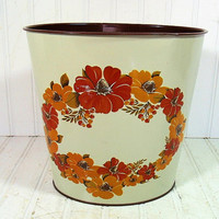 Petite Floral Metal Waste Can - Vintage J.V. Reed & Co. Lithograph Oval Bin - BoHo Hippie Decor Trash Can