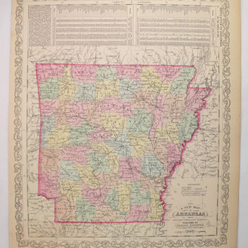 1858 Mitchell DeSilver Arkansas Map, Original Antique Map Arkansas, Gift for Wife, 1st Anniversary Gift for Couple, Vintage Map of Arkansas