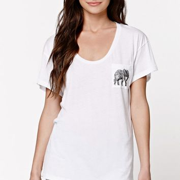 Riot Society Pocket Elephant Boyfriend T-shirt - Womens Tee - White