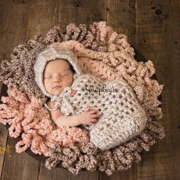 Bonnet, Cocoon, Bonnet and Cocoon Set, Photo Prop, Newborn Photography Prop, Snuggle Sack, Photo Prop Set, Newborn Photo Shoot