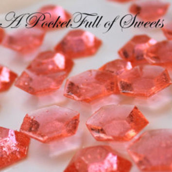 125 CORAL PINK Edible Sugar Jewels Barley Sugar Hard Candy Cupcake Toppers Cake Decor Gifts 6.5 oz