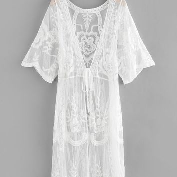 Lace Knot Front Long Cardigan