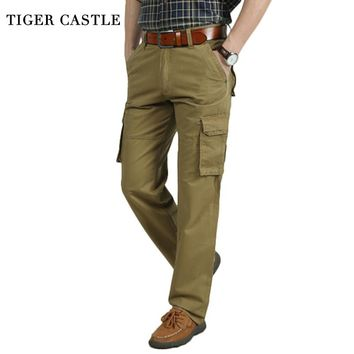 TIGER CASTLE Men Military Style Cargo Pants Khaki Army Muliti Pocket Straight Male Tactical Pants Fashion Long Trousers