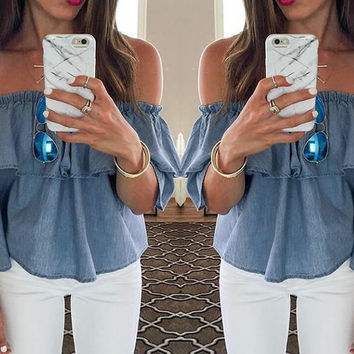 New summer sexy Women Solid Color off shoulder Denim Short sleeve T-shirt -0626