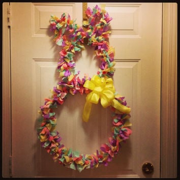 Easter bunny rag wreath