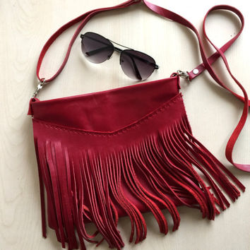 Red Fringe Leather Bag,Fringe Leather Purse,Red Leather Crossbody Bag,Boho Fringe Messenger Bag,Red leather Bag,Boho Leather Bag