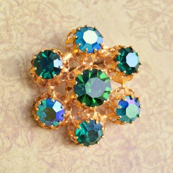 Vintage Austrian, Gold Tone, Green Rhinestone, Brooch Scatter Pin, Womens Estate Jewelry, Wife Girlfriend Mom Sister Daughter Friend Gift