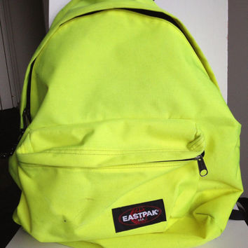 vintage Eastpak fluorescent yellow backpack bag