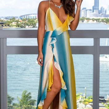 Yellow and Blue Chiffon Ruffled Maxi Dress