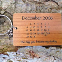 Personalised Wooden Calendar Keyring, Fathers Day Gift,Mothers Day,Anniversar