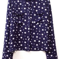 Oasap 2014 Star Button-up Shirt T Shirt Navy 75% off retail