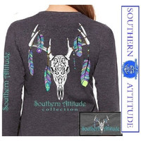 Southern Attitude Preppy Feather Deer Skull Gray Long Sleeve T-Shirt