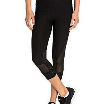 Leggings For Girls RBX Active Women's Power Capri Length Legging with Mesh Blocking