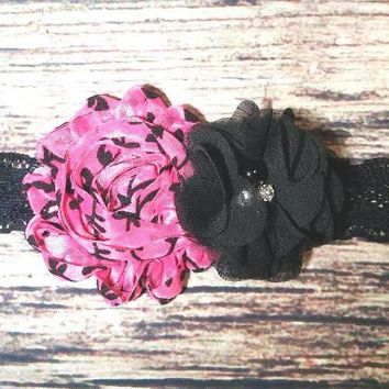 Pink Damask and Black Chiffon Black Lace Headband / Baby Headband / Infant / Toddler / Girls Hair Bows / Baby Bows / Damask Print / Babies