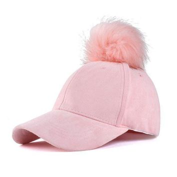 Women Faux Fox Fur Pompom Baseball Caps Ball Suede Adjustable Cap Hip Hop Hat 2017 Fashion New Style Gorros Para El Sol