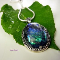 Pandora's Opal Handmade Fused Dichroic Glass Jewelry Cabochon Pendant