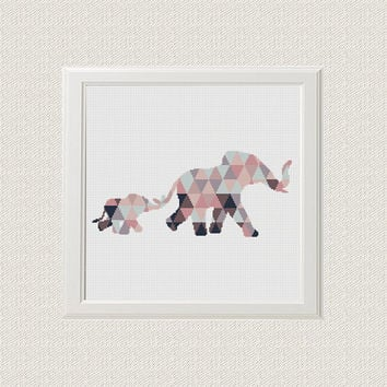 elephant Cross Stitch pattern modern, elephant Geometric Pattern,  baby Animals, Cross Stitch baby PDF