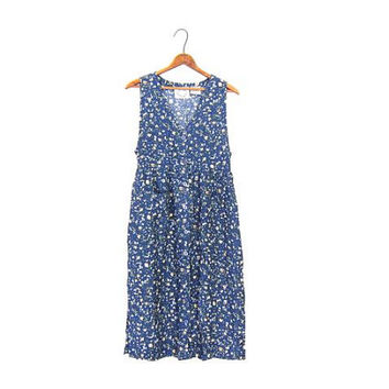 Blue long summer midi dress 90s floral revival slip Babydoll BOHO Sleeveless Sundress Pockets Flower Print Rayon Small Petite Womens Vintage